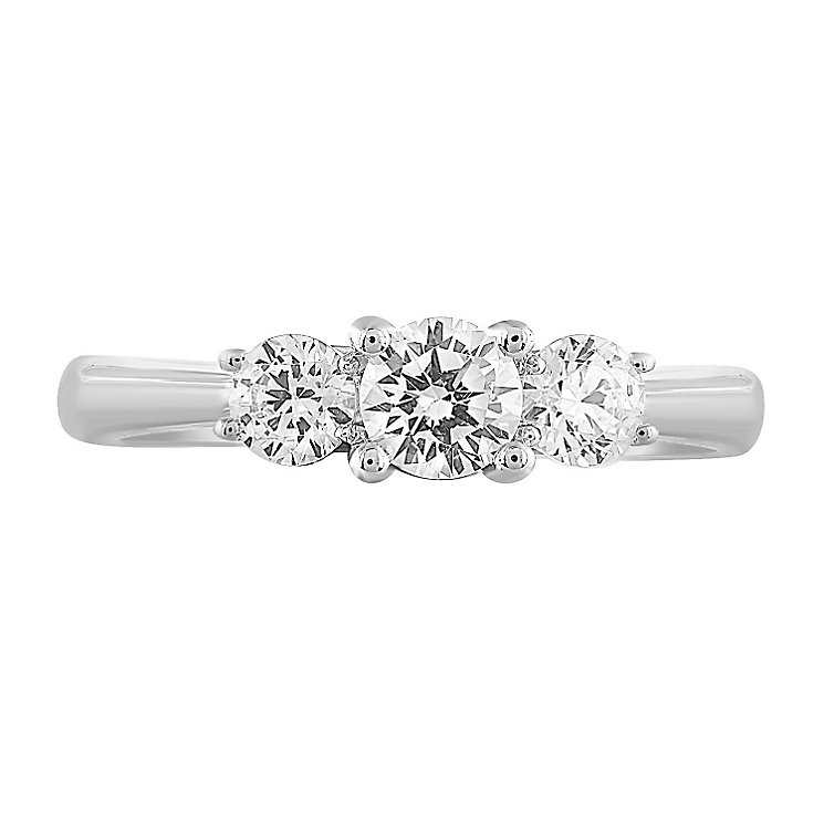 Leo Diamond 18ct White Gold 3 Stone 75pt II1 Diamond Ring - Product number 5513243