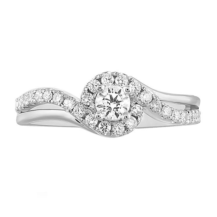 Leo Diamond 18ct White Gold 50pt II1 Diamond Halo Ring - Product number 5513642