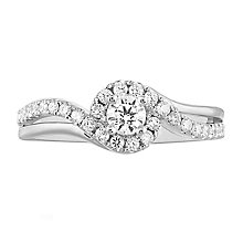 Leo Diamond 18ct White Gold 0.50ct II1 Diamond Halo Ring - Product number 5513642