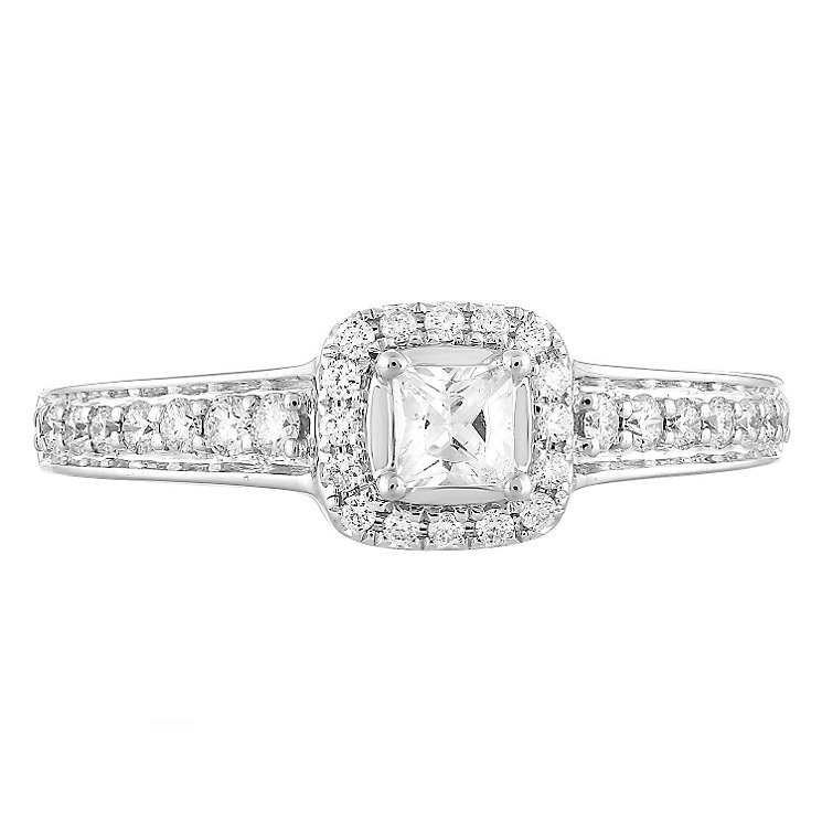 Leo Diamond 18ct White Gold 50pt II1 Diamond Halo Ring - Product number 5513774
