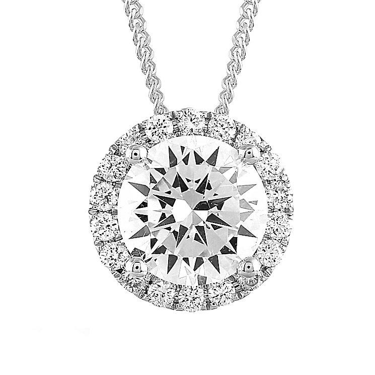 Leo Diamond 18ct White Gold 1ct II1 Diamond Halo Pendant - Product number 5514304