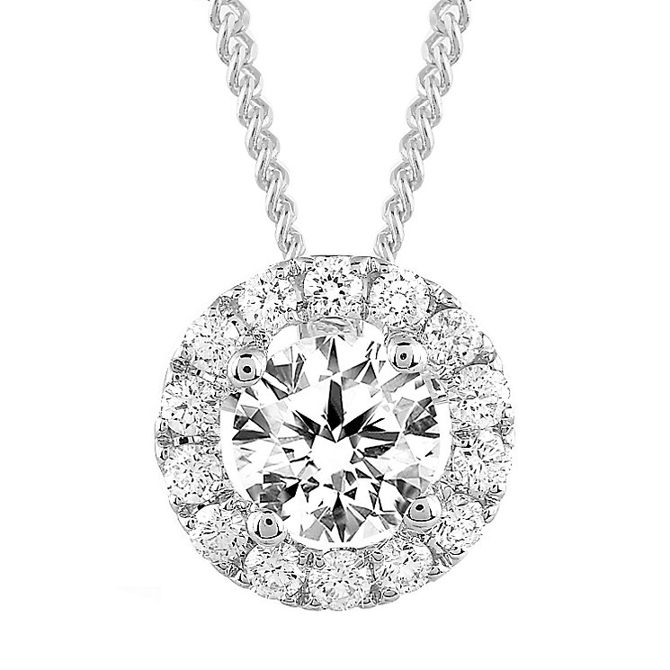 Leo Diamond 18ct White Gold 0.50ct II1 Diamond Halo Pendant - Product number 5514312