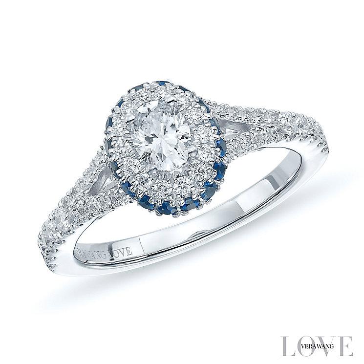 Vera Wang 18ct White Gold 0.70ct Diamond & Sapphire Ring - Product number 5514460