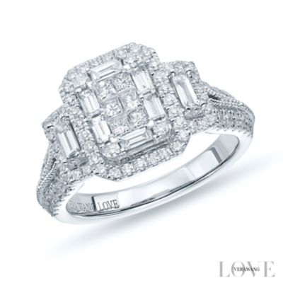 Vera Wang 18ct White Gold 095ct Diamond Cluster Ring Ernest Jones