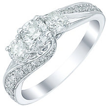 18ct White Gold 1ct Diamond 3 Stone Crossover Ring - Product number 5515254