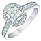 18ct White Gold 50pt Diamond Oval Shaped Cluster Ring - Product number 5515408