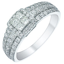 18ct White Gold 75pt Princess Cut Diamond Halo Cluster Ring - Product number 5516099