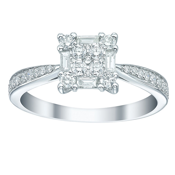 18ct White Gold 0.50ct Diamond Square Cluster Ring - Product number 5516773