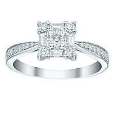 18ct White Gold 50pt Diamond Square Cluster Ring - Product number 5516773