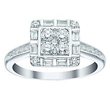 18ct White Gold 69pt Diamond Square Cluster Ring - Product number 5516927
