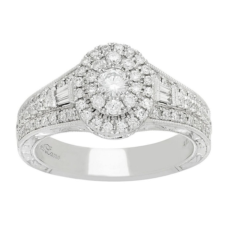 Neil Lane 14ct White Gold 70pt Diamond Oval Halo Ring - Product number 5519276
