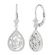 Neil Lane Designs Silver Filigree Drop Diamond Earrings - Product number 5519748