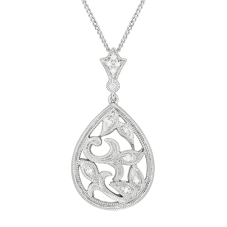 Neil Lane Designs Silver Filigree Drop Diamond Pendant - Product number 5519764