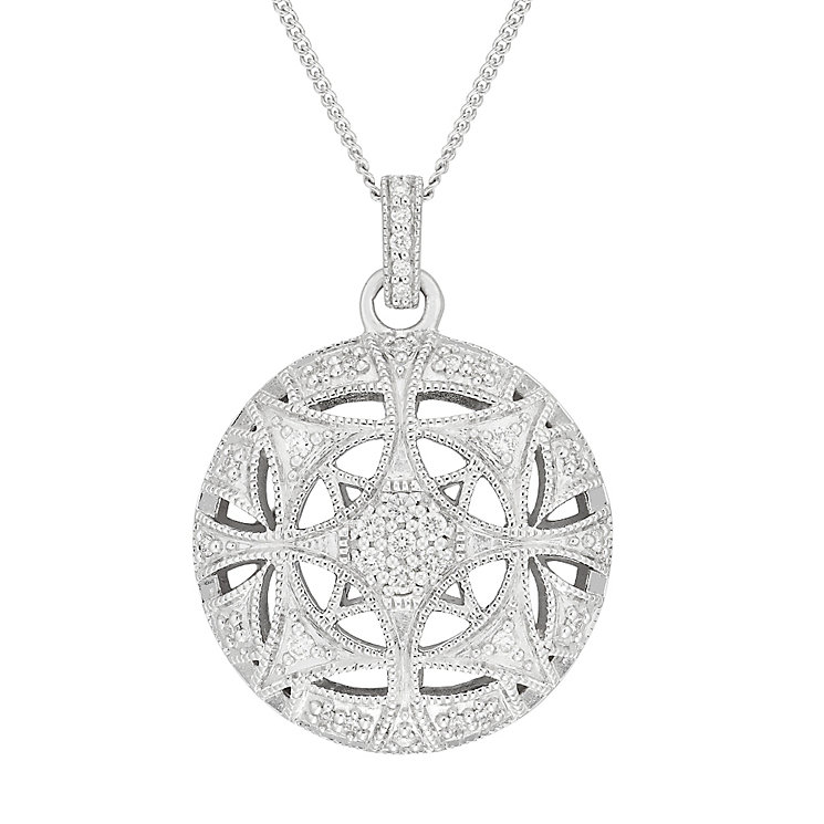 Neil Lane Designs Silver 17pt Diamond Vintage Round Pendant - Product number 5519772