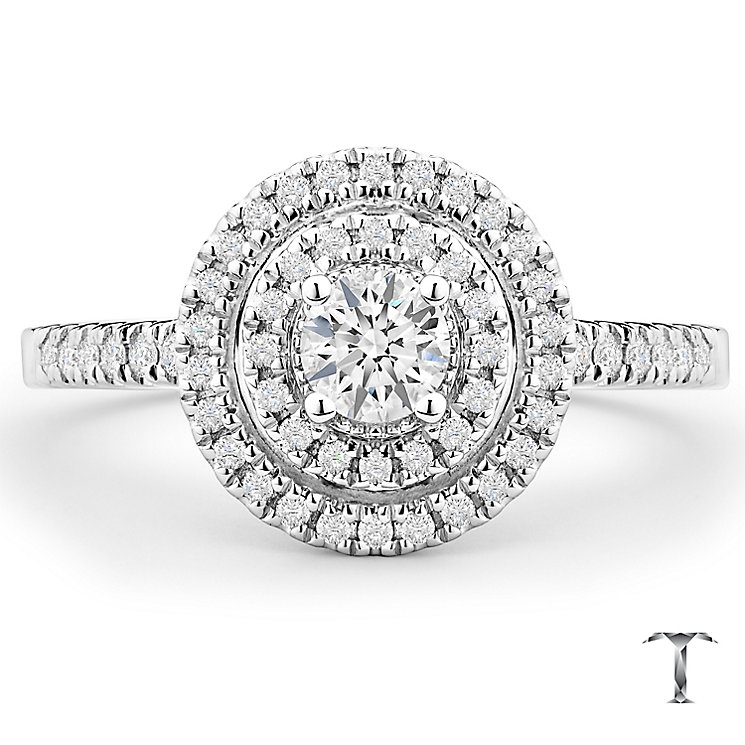 Tolkowsky 18ct White Gold 50pt Diamond Double Halo Ring - Product number 5524180