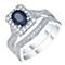 18ct White Gold Sapphire 0.50ct Diamond Bridal Set - Product number 5526272