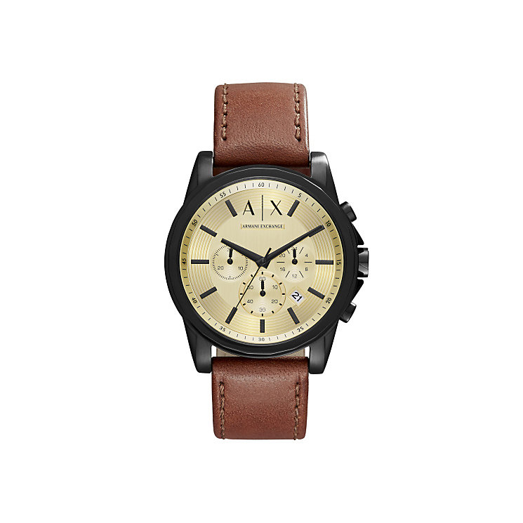 Armani Exchange Gent's Brown Leather Strap Watch - Product number 5526604