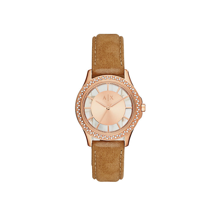 Armani Exchange Ladies' Brown Leather Strap Watch - Product number 5526698