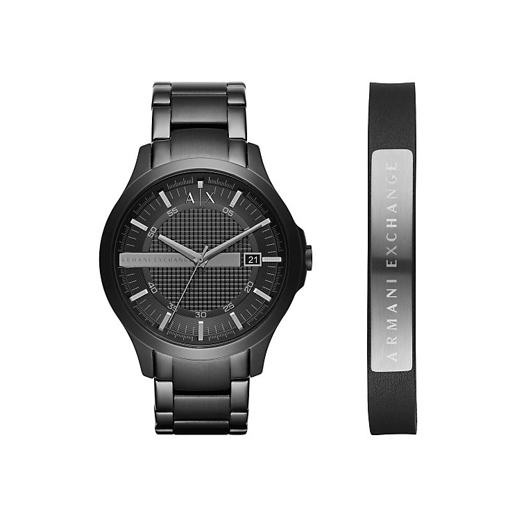 Armani Exchange Gents Black Leather Strap Watch - Product number 5526752