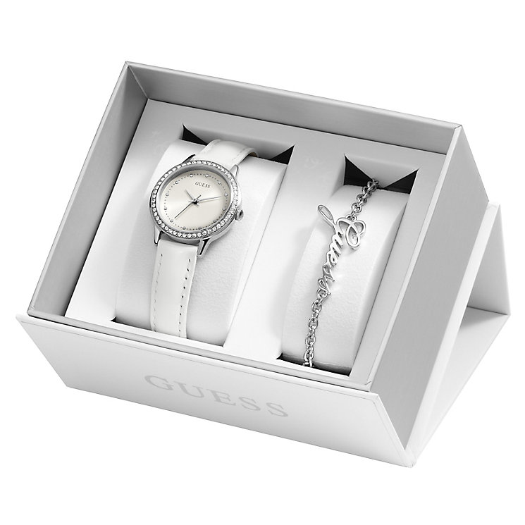 Guess Ladies' White Leather Strap & Silver-Tone Bracelet Set - Product number 5526760