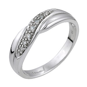 Ladies' 9ct White Gold 0.10 Carat Diamond Set Crossover Ring - Product number 5545196