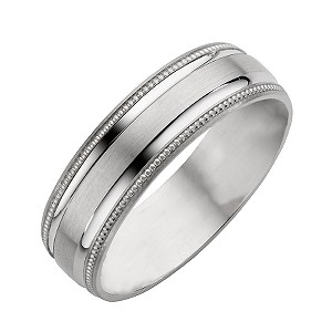 9ct White Gold Matt/Polished Wedding Ring