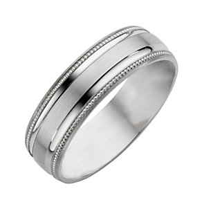 9ct White Gold Matt/Polished Wedding Ring - Product number 5546907