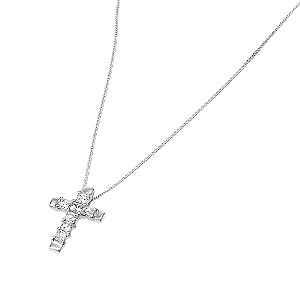 9ct White Gold Cubic Zirconia Set Cross Pendant - Product number 5550211