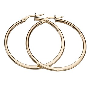 9ct Yellow Gold 35mm Large Creole Hoop Earrings - Product number 5551714