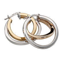 9ct Two Colour Gold Creole Earrings - Product number 5551757