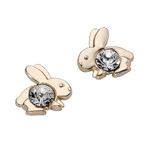 9ct Yellow Gold Crystal Set Rabbit Earrings - Product number 5553229