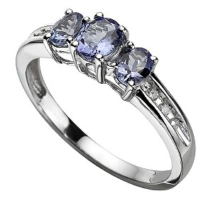 9ct White Gold Diamond and Tanzanite Ring