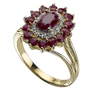 9ct Gold Diamond and Ruby Ring