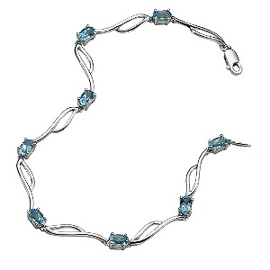 9ct white gold blue topaz bracelet - Product number 5571162