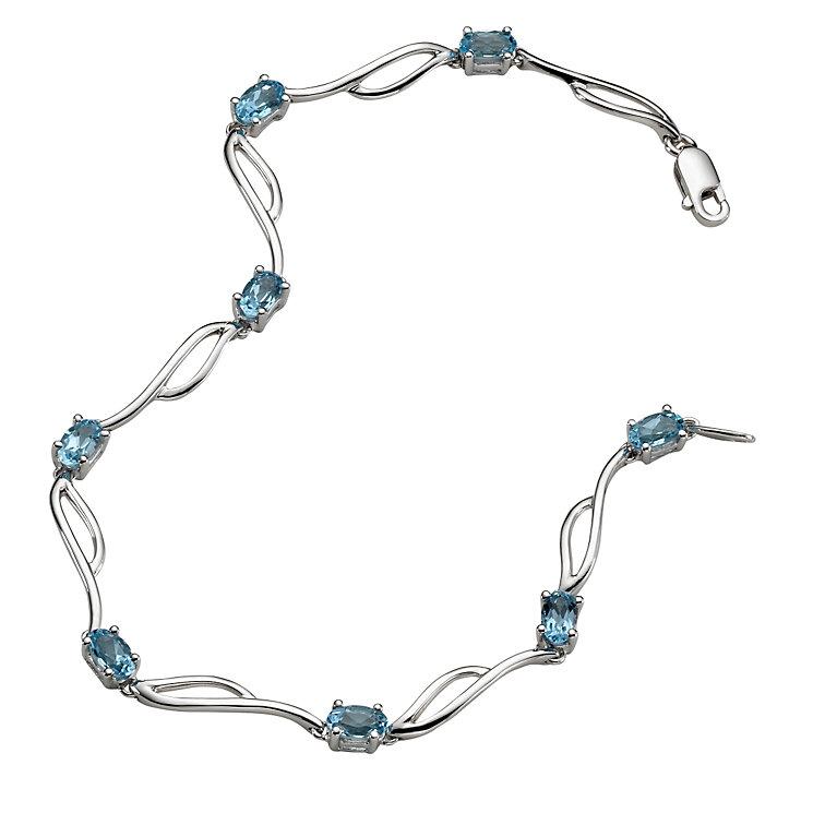 9ct white gold blue topaz bracelet - Product number 5571162