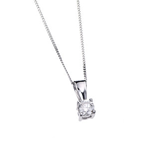 9ct White Gold 1/3 Carat Diamond Solitaire Pendant - Product number 5571499
