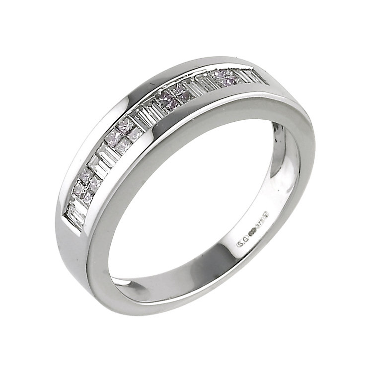 Men's 9ct white gold half carat diamond ring - Product number 5575648