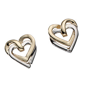 9ct gold two-colour double heart stud earrings - Product number 5577500