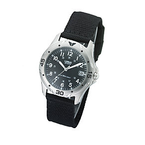 Lorus Men's Black Dial Material Strap Watch - Product number 5578272