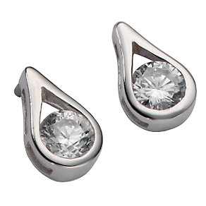 9ct white gold cubic zirconia pear-shaped stud earrings - Product number 5579317
