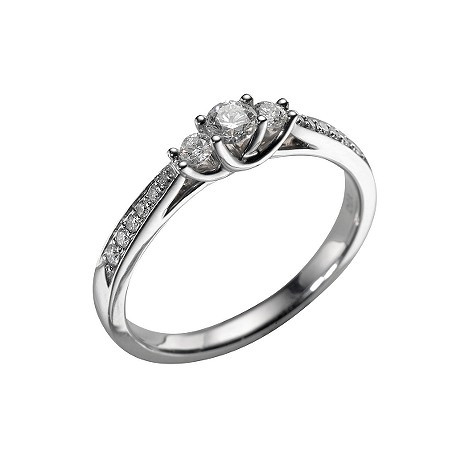 18ct white gold third carat diamond three stone ring
