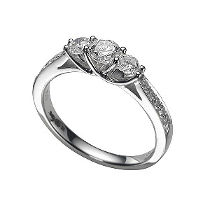 18ct white gold half carat diamond three stone ring - Product number 5584809