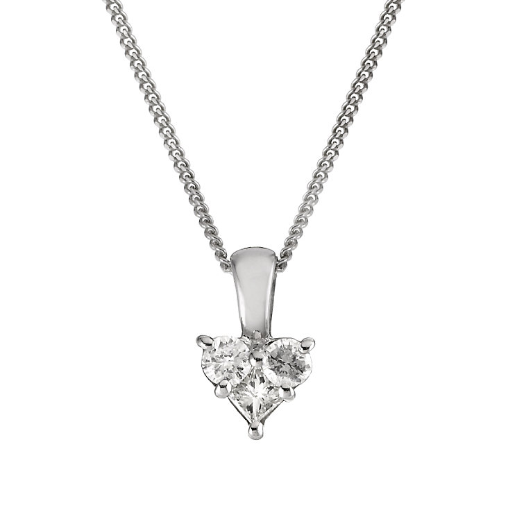 9ct white gold 10 point diamond heart pendant - Product number 5589398