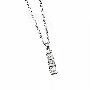 Platinum quarter carat diamond drop pendant - Product number 5589495