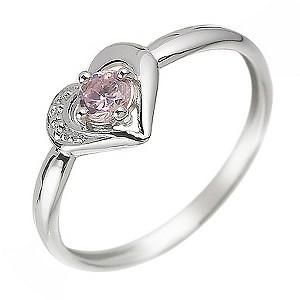 9ct White Gold Pink Cubic Zirconia Heart Ring Size F