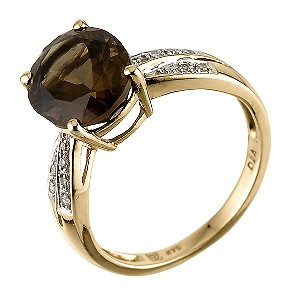 9ct Yellow Gold 4pt Diamond Smoky Quartz Ring