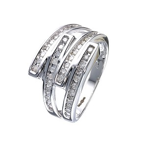 9ct White Gold 1/3 Carat Diamond Double Crossover Ring - Product number 5602378