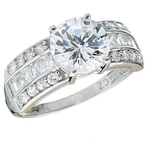9ct White Gold Brilliant Cut Cubic Zirconia Ring