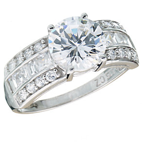 9ct White Gold Brilliant Cut Cubic Zirconia Ring - Product number 5624509