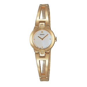 Seiko gold-plated diamond-set bangle watch - Product number 5638240